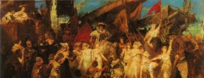 The Entry of Charles V. Into Antwerp (sketch) Painting by Hans Makart; The Entry of Charles V. Into Antwerp (sketch) Art Print for sale