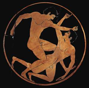 Men wrestling, detail of an ancient Greek cup