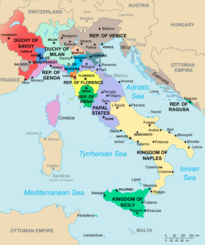 A map of Italy in 1494