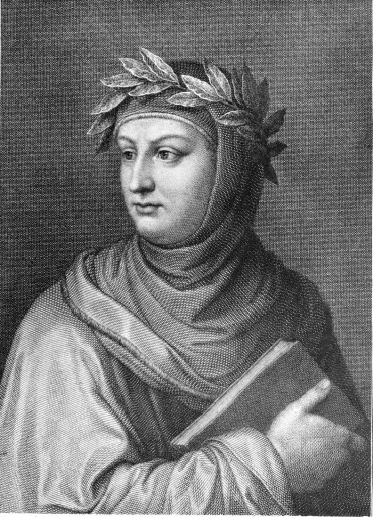 Engraved portrait of Giovanni Boccaccio (1313–1375) by Raffaello Sanzio Morghen