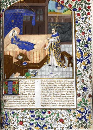 Full page with miniature of Boccaccio's vision of Petrarch