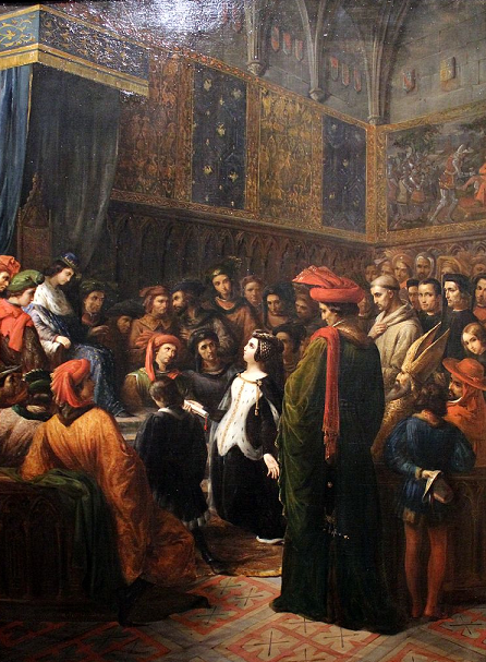 Valentina Visconti implores King Charles VI for justice for her assassinated husband – Louis d'Orléans, by Alexandre Colin, 1836, Musée de Versailles.