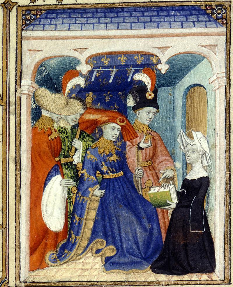 Louis d'Orléans meeting Christine de Pisan, a miniature from du Maître de la Cité des dames tirée de l'Épître Othéa