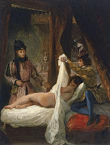 Louis d'Orléans unveils a mistress. Thyssen-Bornemisza Collection, Madrid by Eugène Delacroix, c 1825-26.