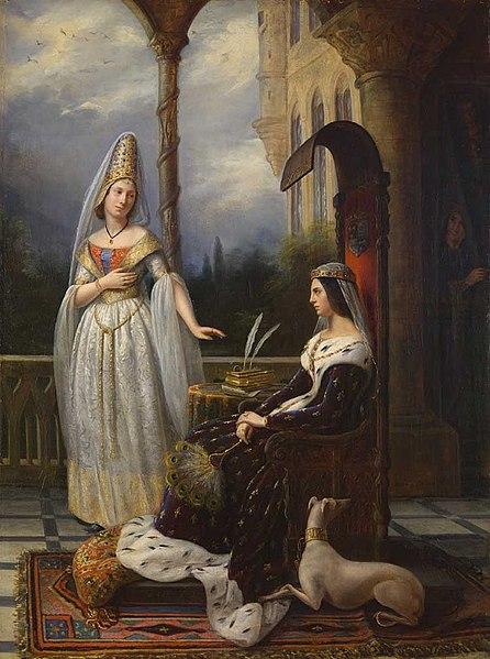 Valentine of Milan and Odette de Champdivers (King Charles VI's mistress), Anna Borrel, 1838
