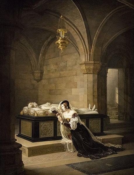 Valentina Visconti near the tomb of her assassinated husband – Louis d'Orléans, by Marie-Philippe Coupin de la Couperie, 1822, Château de Blois